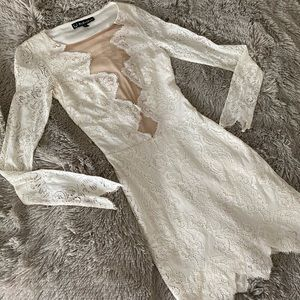 For Love & Lemons Mini Lace Dress White